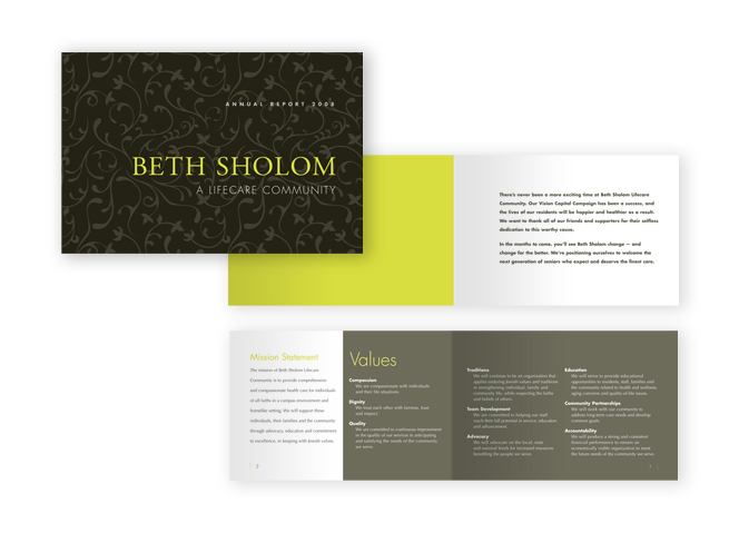 Beth Sholom Annual Report spread