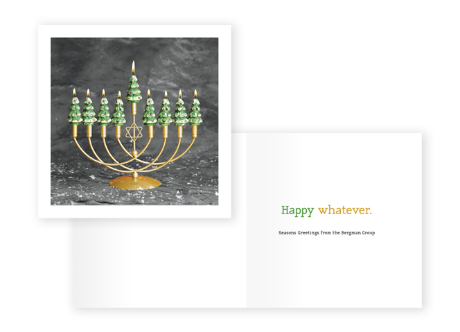 The Bergman Group Holiday Card menorah with christmas candles